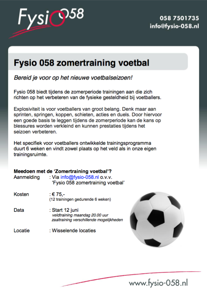 Fysio058 Zomertraining